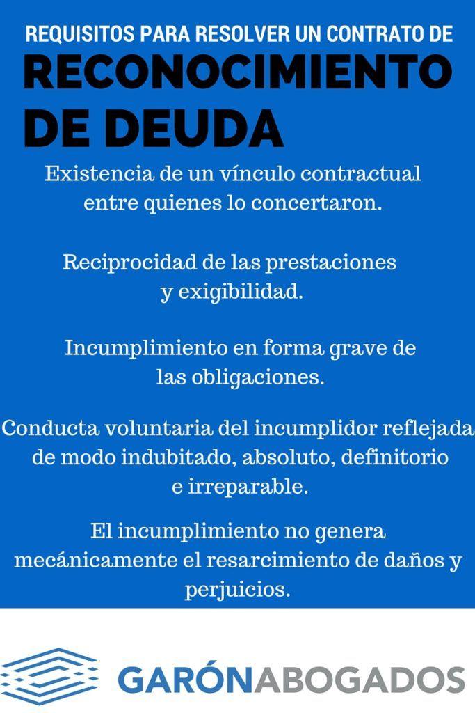 reconocimiento de deuda requisitos para resolver contrato